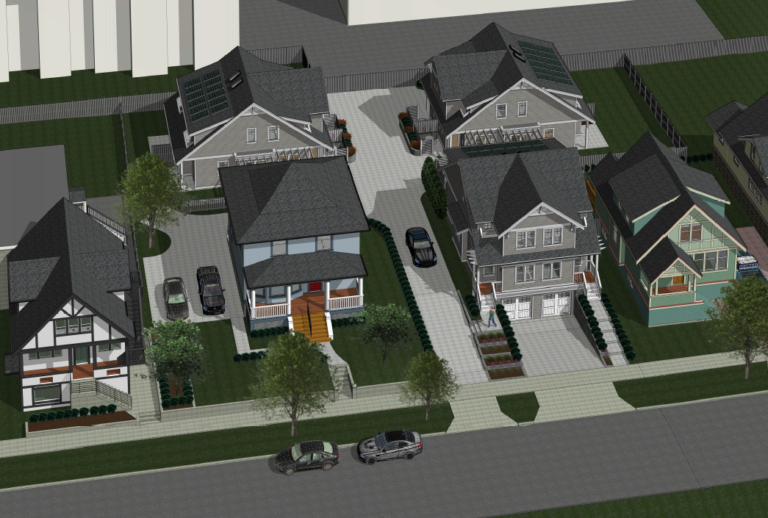 Three New Duplexes, residential infill site in Jubilee neighbourhood